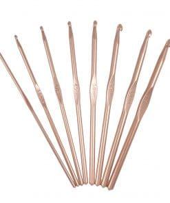 image shows 8 Milward rose gold crochet hooks int he shape of a fan
